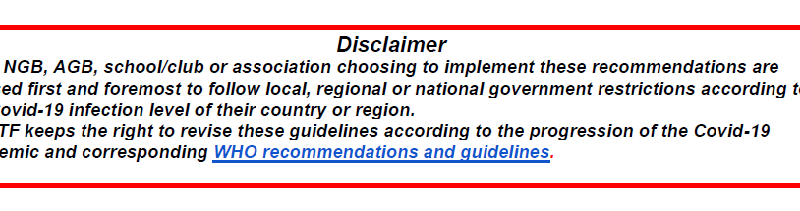 ITF ANTI-EPIDEMIC GUIDELINES